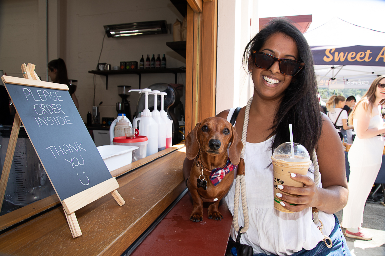 Franklin the miniature dachshund with his human Abigail